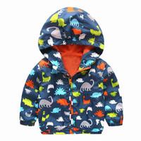 manteau patchwork pour garçons achat en gros de-80-120 cm Mignon Dinosaure Printemps Enfants Manteau Automne Enfants Veste Garçons Manteaux Manteaux Actif Garçon Coupe-Vent Bébé Vêtements Vêtements