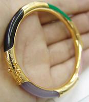 pulsera de jade negro verde al por mayor-