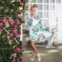 Wholesale birthday clothing - Kids Party Dress for Girls Birthday Summer Clothing 2018 Designer Short Sleeve Flowers Princess Dress for Kids Clothes 7pcs lot