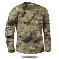 camisas táticas de secagem rápida venda por atacado-Desgaste Ao Ar Livre Esportes T-Shirts Camping Caminhadas Tático Manga Longa T-shirt, secagem Rápida, Respirável, Combate Corrida T-Shirt Ciclismo