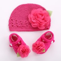 Wholesale crochets shoes online - Flower baby crochet photo prop girl shoes winter hat set Crib toddler boots knitted Beanie kids shoes for girl T0096 set