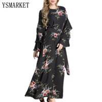 Wholesale work out clothing for women online - M XL Plus Size Ladies Modest Fashion Dresses For Women Abaya Floral Long Sleeve Maxi Muslim Dress Print Clothing Autumn E9071