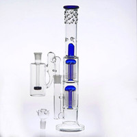Wholesale two function percolator ash catcher resale online - 38cm Two Function Recycler Bong With Ash Catcher Joint mm Oil Rig Water Pipes Double Arm Tree Dome Percolators Sturdy Blue Glass Bongs