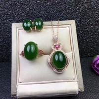 ingrosso set di gioielli di giada-MeiBaPJ Classic Natural Nephrite Jade Jewelry Set di pietre preziose 925 Sterling Silver 3 Siut Fine Jewelry per le donne