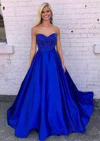 königsblaue satinschärpen großhandel-2017 royal blue prom kleider schatz reißverschluss zurück bodenlangen perlen pailletten schärpe satin vestidos abendkleider abend party tragen