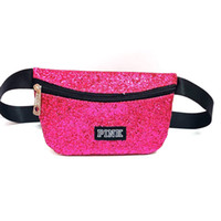 Wholesale shiny tote bag online - Best vs Glitter Love Pink letter Waist Bag Women Fanny Packs Shiny Bling Shoulder Bags fitness Handbag Belt Tote Travel Beach Cosmetic Bag