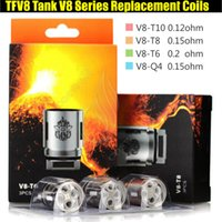 Wholesale coil head core - 100%Quality TFV8 Coils V8-T10 V8-T8 V8-T6 V8-Q4 RBA Series Core Head TFV8 Cloud Beast Tank Vaporizer e cigs vapor RDA Replacement Atomizers