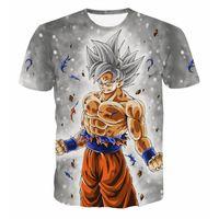 Wholesale gold battle - Anime Dragon Ball Z Men's Summer T-shirts 3D Printing Super Saiyan Son Goku Black Zamasu Vegeta Battle Dragonball T Shirt Tops Tee