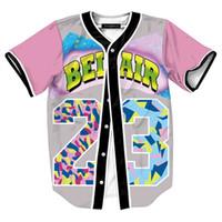 botones de camisa personalizados al por mayor-Camisas transpirables para hombre Homme Camisa 3d Streetwear Camisetas Camisas Hip Hop Bel Air 23-Fresh Prince Chill Flower Jersey de béisbol hecho a medida