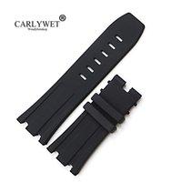 correas de reloj de 28 mm al por mayor-CARLYWET 28mm Comercio al por mayor Negro Impermeable de Caucho de Silicona Reloj de Pulsera de Reemplazo Banda Correa
