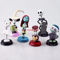 juego de accesorios de muñeca al por mayor-6 unids / set 5 ~ 7 cm pesadilla de Anime antes de Navidad Jack PVC figura muñeca para niños regalo accesorios de teléfono figuras de acción juguete dool envío gratis