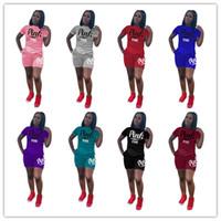 Wholesale Track Pants Wholesale - 2018 summer PINK Letter shorts suit 2pcs set short sleeve T-shirt+ Shorts pants love pink Outfits Tracksuit Set track Suit Sportswear suit