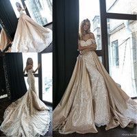 Wholesale silk lace mermaid wedding dresses for sale - Group buy New Arrival Stunning Champagne Mermaid Wedding Dresses with Detachable Satin Train Off the Shoulder Full Lace Wedding Gowns