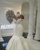 Wholesale dubai wedding dresses for sale - Custom Made Luxury Dubai Arabic Mermaid Wedding Dresses Plus Size Beading Crystals Court Train Wedding Dress Bridal Gowns