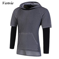Wholesale fake two pieces jacket - Vertvie 2017 New Arrival Men's Running Jacket Mesh Breathable Fake Two-pieces Sports Hoodies Sportswear Outwork Jackets For Man