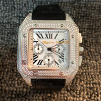 grandes relojes de cuarzo diamante acero inoxidable al por mayor-Santos100XL 46mm tamaño grande de cuarzo de la alta calidad Movimiento Cronógrafo VK barrido Mover lujo de diamante completo del reloj del hombre de acero inoxidable de plata