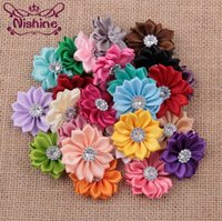 Wholesale Hair Accessories Hairpins Diy - Nishine 120pcs lot 24 Colors Satin Ribbon Multi-layer Flowers With Acrylic Button Diy Hair Flowers For Girls Apparel Hair Accessories