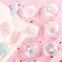 Wholesale gel nail art sticker - New Nail Art Laser Glitter Nail Polish Gel Paster Star Heart Shaped Phantom Color Large Sequins Stickers DIY Accessories
