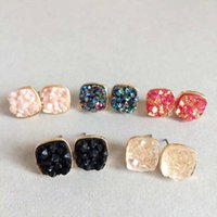 Wholesale Rock Drops - Fashion 10 Colors 10mm Druzy Silver Golden Plated Small Studs Sequins Square Water-drops Shaped Resin Earrings Rock Lava Jewelry