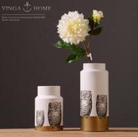baykuş oda dekoru toptan satış-Muhtasar coruja ceramica baykuş ev dekor Baykuş pot çiçek vazo el sanatları el sanatları odası düğün dekorasyon porselen hayvan heykelcik