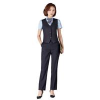 официальная одежда для женщин оптовых-Women Pants Suits Business Formal Uniform Suits With Pants Vest Office Ladies Uniform Business Formal Office Clothes Pantsuits