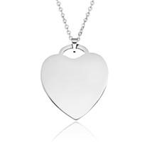 colar do coração da corrente chave venda por atacado-Forma de coração Pingente de Colar Em Branco de Aço Inoxidável Amor Alta Polido Gravado Personalizado Jóias DIY Acessório para Colares Chaveiros
