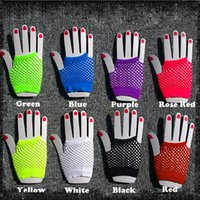 Wholesale white fishing gloves - 2015 High Quality Neon Short Fishnet Gloves Fish Net Black Fancy Party Dance Club Nylon+Spandex Mesh Short Gloves