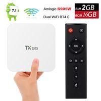 Wholesale Android Tv Pc 2gb - Amlogic S905W Android 7.1 TV Box TX95 Quad Core 2GB RAM 16GB ROM Streaming Smart Media Player 5G Wifi Bluetooth 4K Mini PC Google Playstore