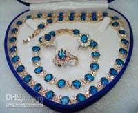 gelbgold saphir halskette großhandel-Seltene 18 k Gold Gelb Saphir Halskette Armband OhrringRing Set