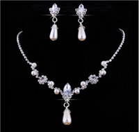 Wholesale pearl necklaces for bridesmaids - 2018 Crystal Drop Pearls silver plated necklace Imitation earrings Wedding jewelry sets for bride Bridesmaids women Bridal Accessories