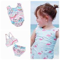 Wholesale baby yellow swimsuits - 3 styles unicorn Flamingo girl Swimsuit baby kids cartoon swimwear print children bathing suit girl's beach wear GGA213