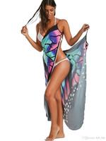 Wholesale Skirted Yellow Bikini - 2018 hot chiffon Butterfly cape cover-up beach scarves Shawls Women beach towel scarf swim skirt bikini Fashion Wraps Female Scarves Shawls