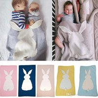 взрослые детские одеяла оптовых-Детские вязаные одеяла Вязание крючком кровать диван одеяло кондиционер Кролик Одеяло для детей Дети новорожденных взрослых подарки 105 * 75 см TY7-153