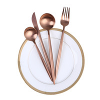 Wholesale knifes light for sale - Group buy Stainless Steel Wire Drawing Western Tableware Sets Rose Golden Knife Fork Spoon Four Piece Set Wedding Party Supply mk gg