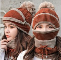 Wholesale winter mask for girls resale online - Fashion and fiannel thickening warm hat ear protectors for riding knitted neck mask wool hats for girl winter cold prevention