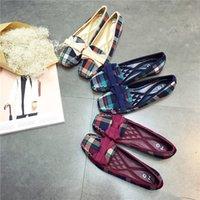женщины плоские ботинки оптовых-Англия Стиль Gingham Женщины Повседневная Мокасины Весна Осень Площадь Toe Боути Скольжения На Квартиры Для Женщин Дамы Один Обувь