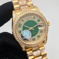 Wholesale diamond band watches - Luxury Brand New Style JC Factory Rol Automatic Watch Men DAY DATE Green Dial Full Gold Diamond Band Sport Watch Free Shipping
