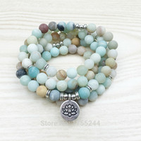 Wholesale green amazonite - SN1142 Fashion Women`s 8 mm Matte Amazonite 108 Mala Beads Bracelet or Necklace Lotus Buddha Ohm Charm Bracelet Free Shipping
