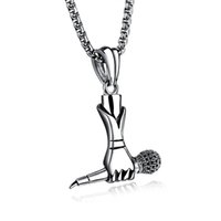 Wholesale drop ship music - Creative Men Hip Hop Music Titanium Steel Singer Mini Microphone Tag Pendant Chain Necklace Trendy Jewelry Support FBA Drop Shipping G888F