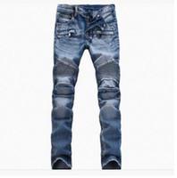 élastique plié achat en gros de-2017 nouveau commerce extérieur jeans, courant de marée européen et américain pli élastique petits pieds bleu jeans