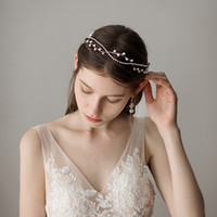 Wholesale bridal headbands resale online - 2018 New Romantic Pearls Beaded Bridal Hairband Gold Stones Wedding Bridal Headpieces Wedding Hair Accessories CPA1426