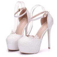 robe sandales bas talons achat en gros de-bas dentelle mariage creux talons hauts Baotou robe chaussures sandales chaussures pour femmes paltform chaussures de mariée