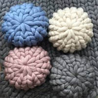 Wholesale round seat pillow - Fake Wool Throw Pillow Hand Knit Round Pillows Home Sofa Decor Bolster Multi Color Hot Sale 45kr3 C RW