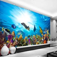 Wholesale mural definition - Custom Mural Underwater World High Definition Kids Room Living Room Background Ocean Aquarium Bedroom Decorative 3D Stereo Wallpapers