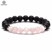 стальные ювелирные изделия выросли оптовых-SHOW NICE 8mm Natural Lava Rose Pink Crystal Star Cut Stone Bracelet For Women Gifts Stainless Steel Spacers Men Jewelry 2019