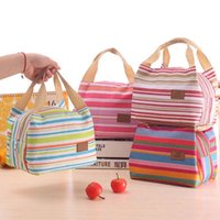 Wholesale Thermal Food Lunch Box - Women Lunch Bag Insulated Picnic Bag Streaky Thick Thermal Box Canvas Bags Large Capacity Insulation Bottle Food Storage Box YFA347