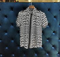 Wholesale mens beach shirt xl - New Arrival Mens Hawaiian Shirt Male Casual Camisa Geometry printing 4 Colors Beach Shirts Short Sleeve Brand Clothing 2XL