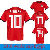 Wholesale Hot Egypt - Hot Egypt M. SALAH 10 World Cup Soccer Jerseys Home Red 18 19 KAHRABA National Team Men Short Sleeve Footbal Maillot de foot