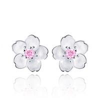 çocuklar için küpeler toptan satış-Sevimli 925 Ayar Gümüş Kiraz Çiçekleri Çiçek Seti Pembe CZ Saplama Küpe Kadın Kızlar Çocuklar Takı Orecchini Aros Aretes