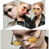 Wholesale small mirrored boxes - Unisex Retro Oval Sunglasses Small box cat eye sunglasses metal frame flat mirror Steampunk Candy Color sunglass outdoor eyewear GGA53